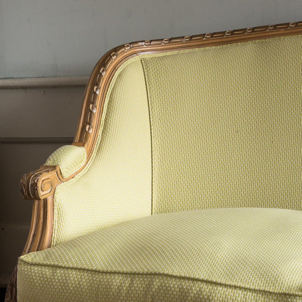 Louis XVI style beech framed canape sofa,-135075