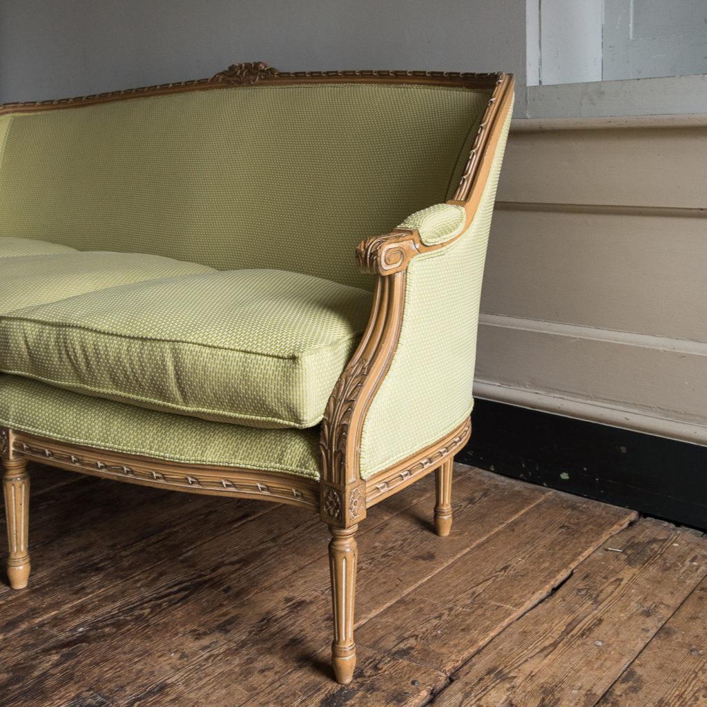 Louis XVI style beech framed canape sofa,-135077