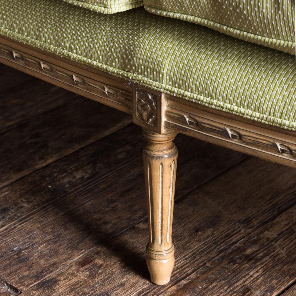 Louis XVI style beech framed canape sofa,-135078