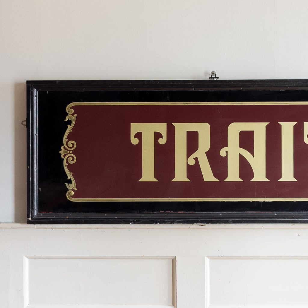 Large early twentieth century French reverse painted caterers signboard, -135145