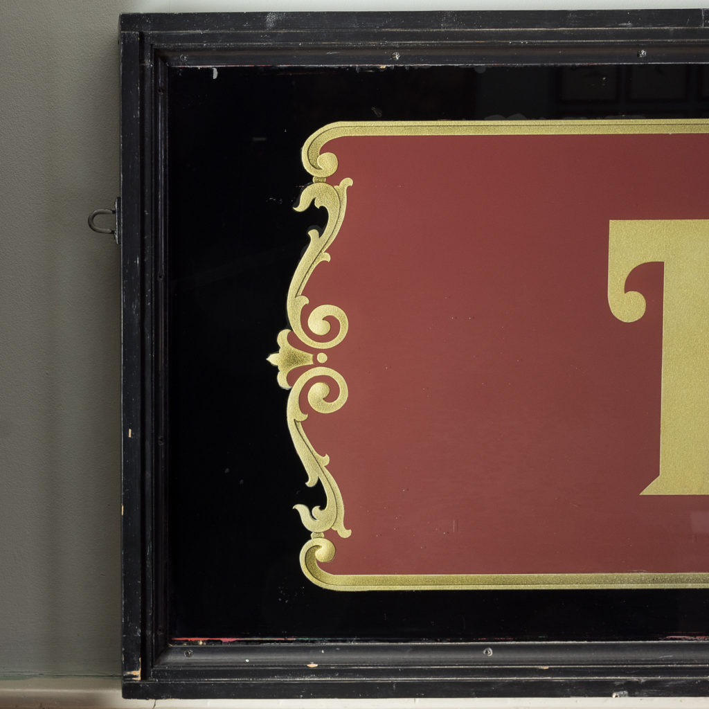 Large early twentieth century French reverse painted caterers signboard, -135151