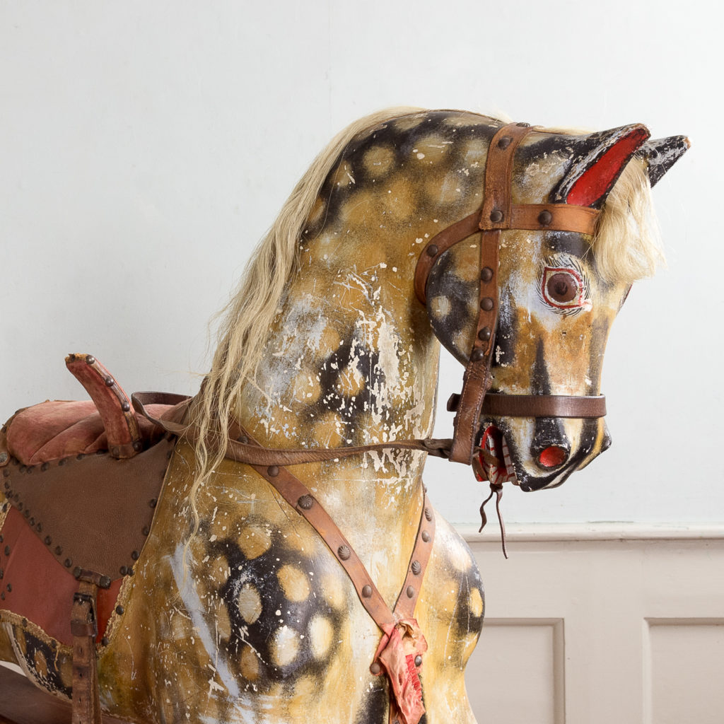Mid-twentieth century polychrome painted rocking horse, -134980