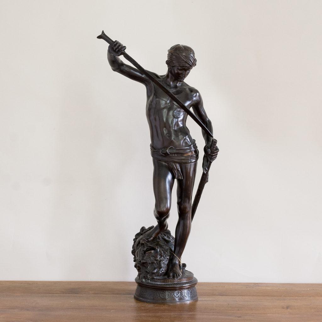 Nineteenth century French bronze of David slaying Goliath,