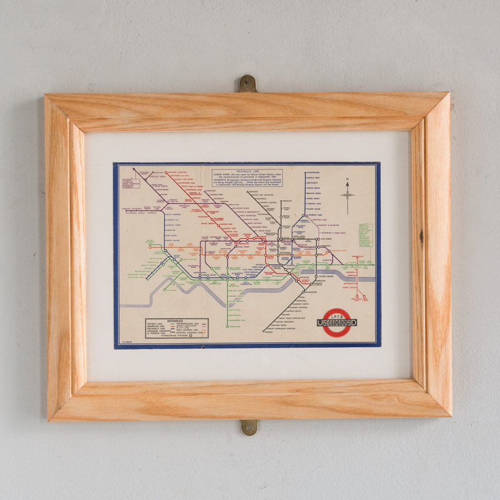 A London Transport Passenger Board London Underground map from 1933