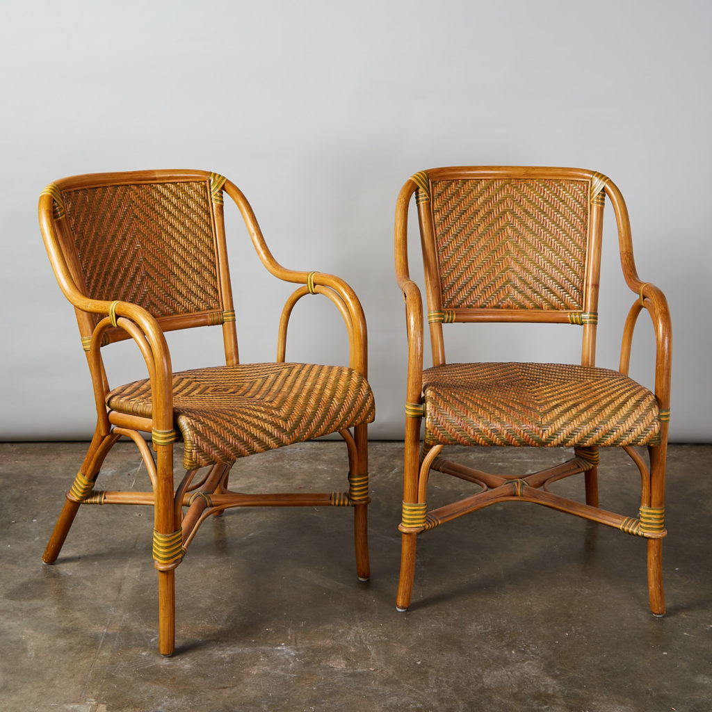 A pair of conservatory armchairs,-0