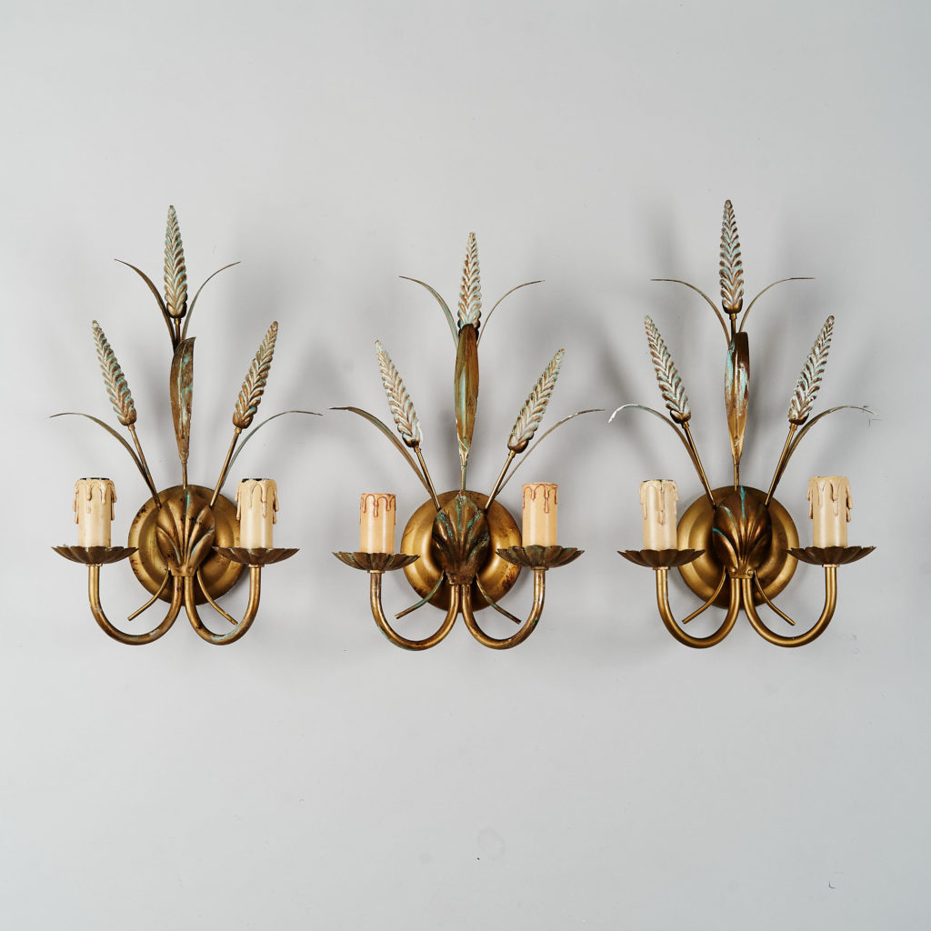 Gilt wheatsheaf sconce lights,-0