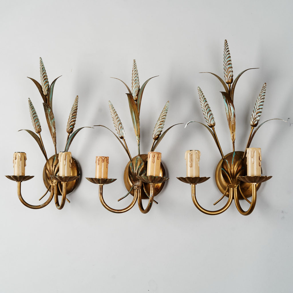 Gilt wheatsheaf sconce lights,-136201