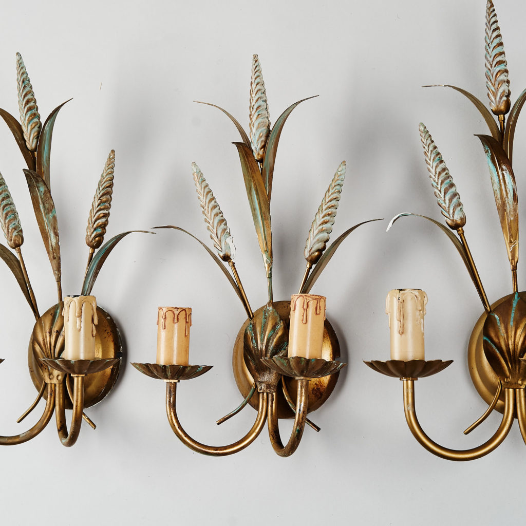 Gilt wheatsheaf sconce lights,-136202