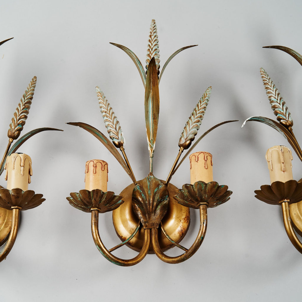 Gilt wheatsheaf sconce lights,-136203