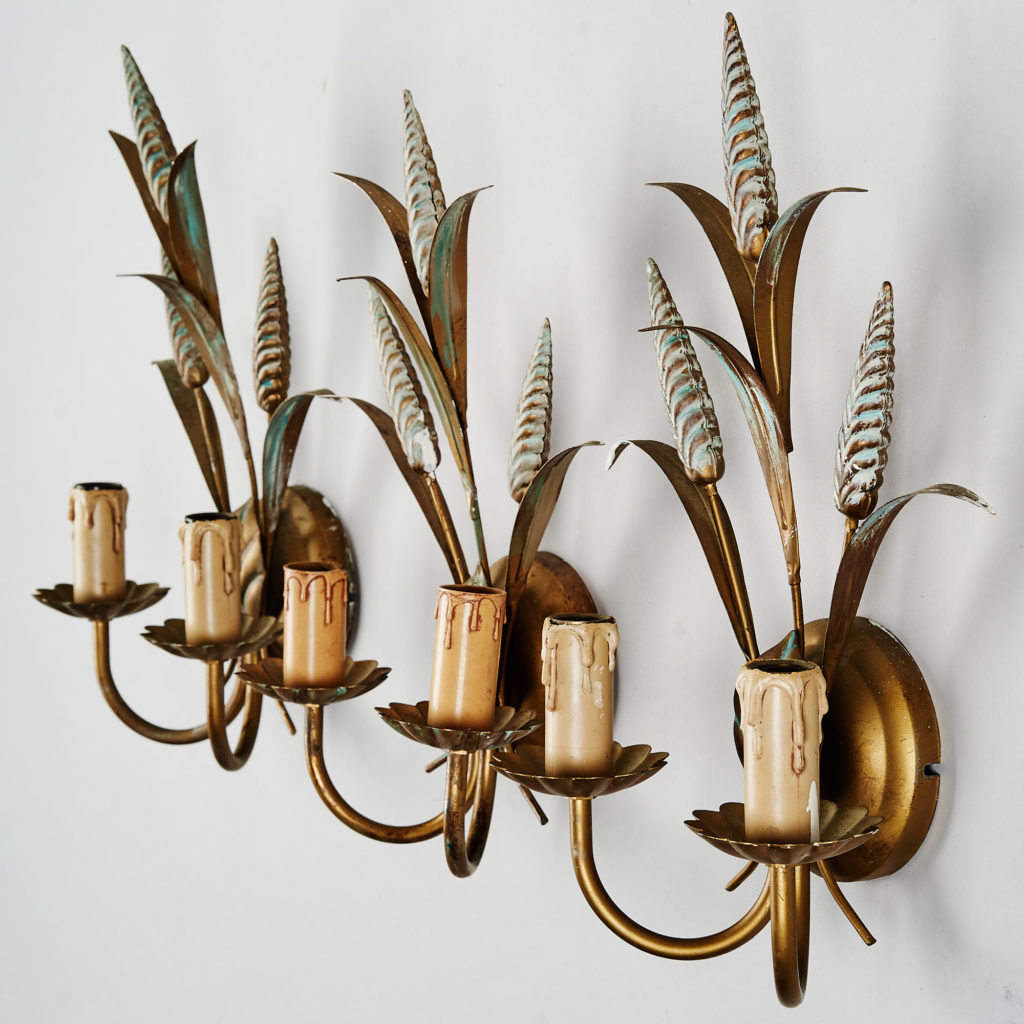 Gilt wheatsheaf sconce lights,-136204