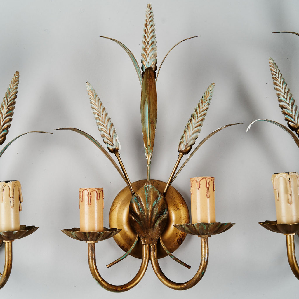 Gilt wheatsheaf sconce lights,-136205