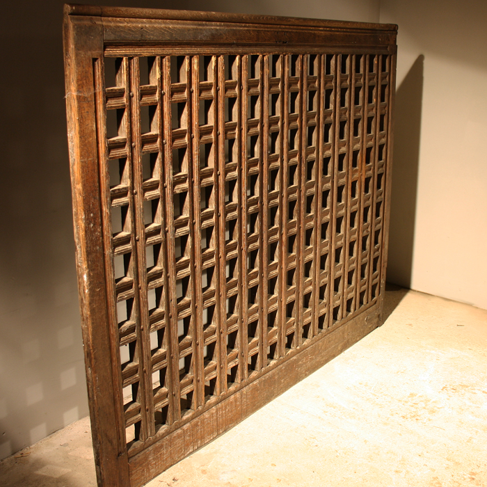 An English oak library screen gate-135578