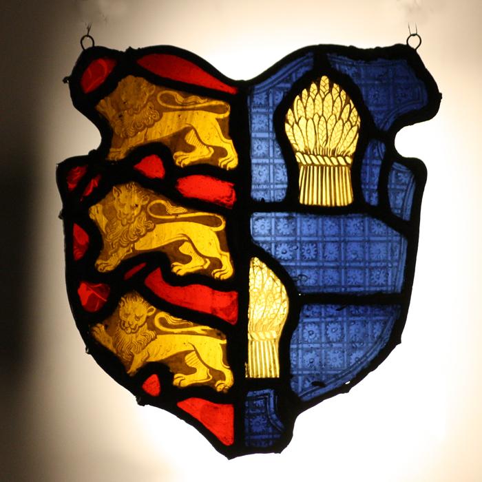 heraldic stained glass cartouche