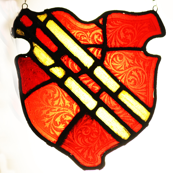heraldic stained glass cartouche,