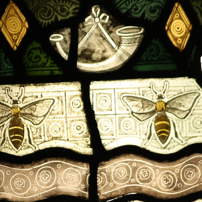 heraldic stained glass cartouche,