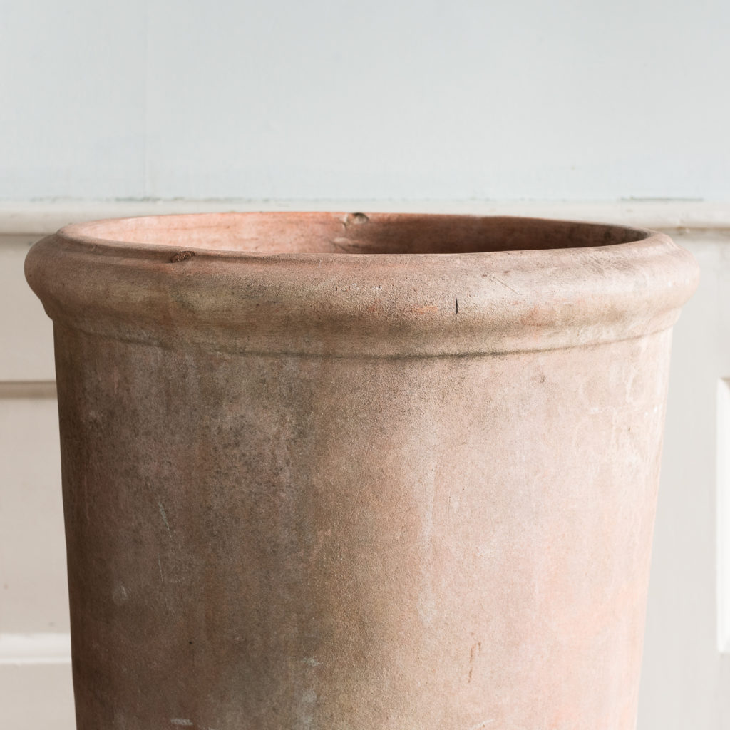 Two tapered cylindrical terracotta planters,-136089