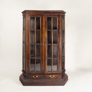 Twentieth century Indian hardwood and glazed display cabinet,