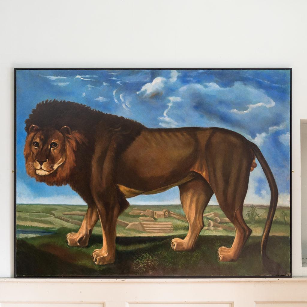 Majestic lion in a landscape
