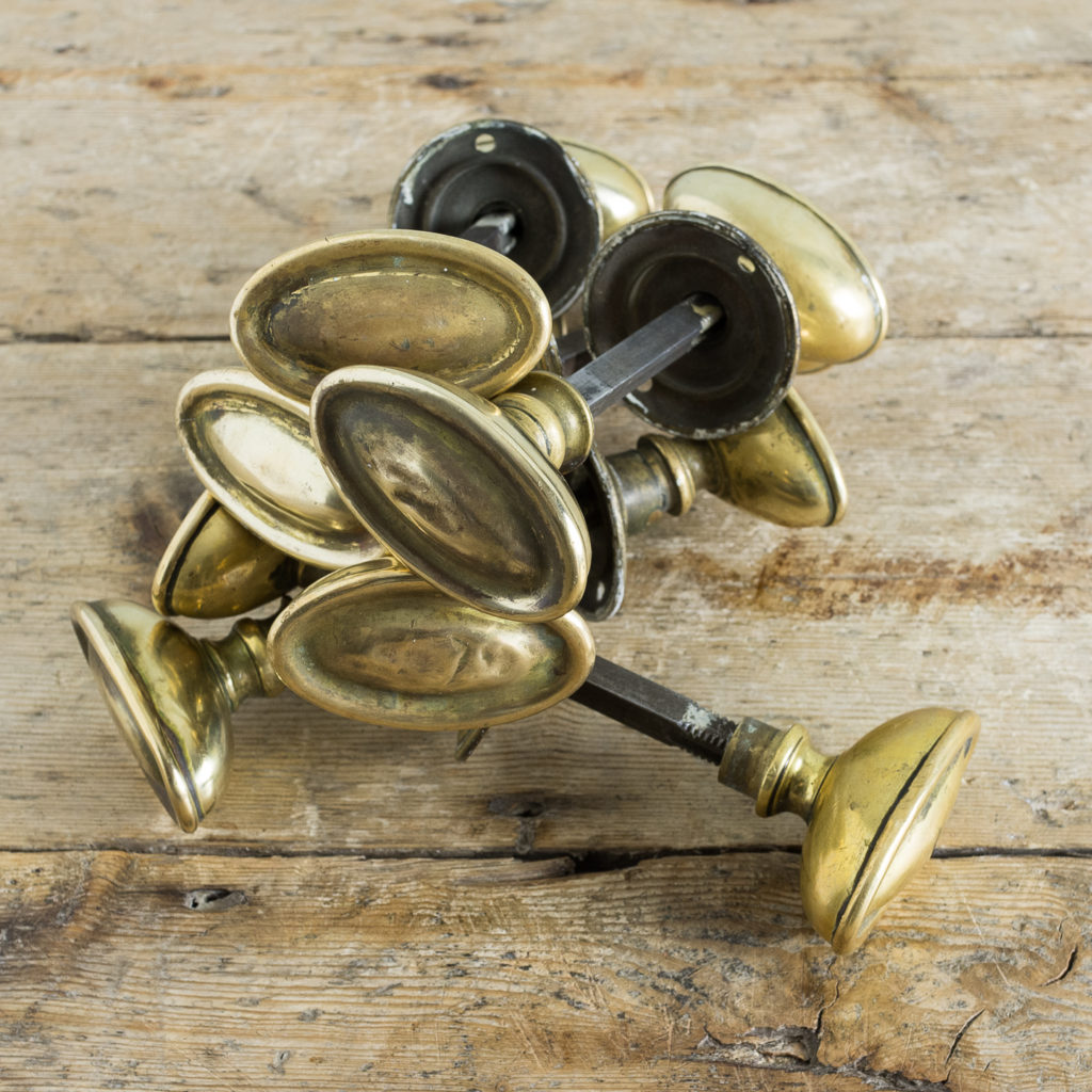 Edwardian pressed brass rim lock oval door knobs,-135202