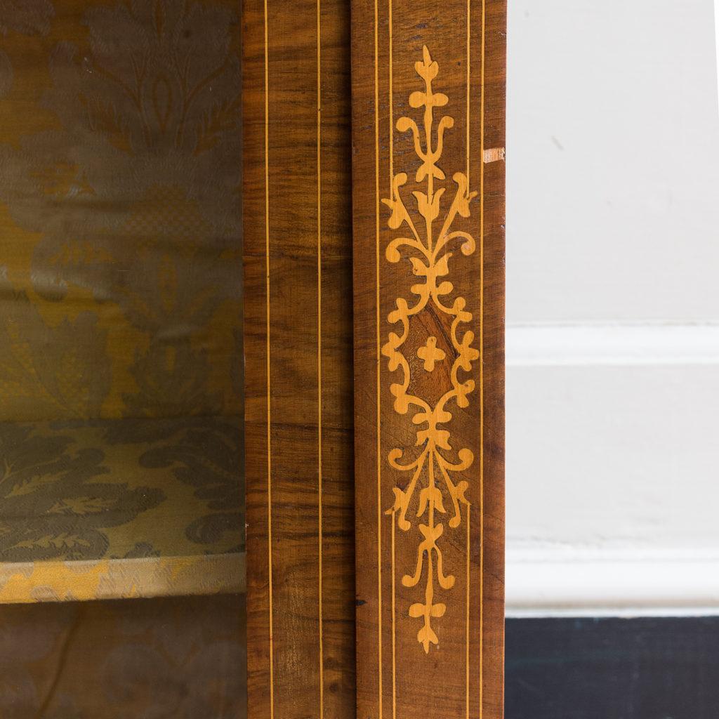 Late nineteenth century inlaid walnut pier cabinet, -136072