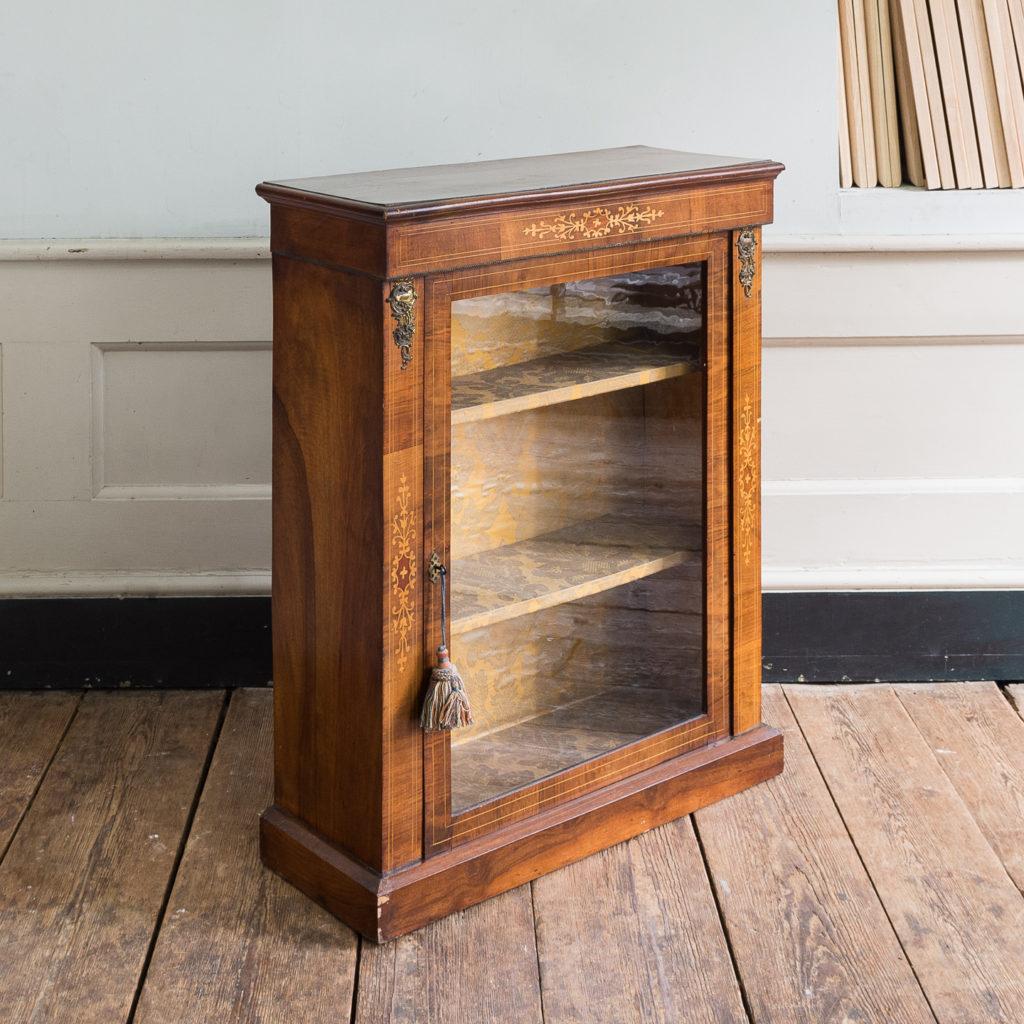 Late nineteenth century inlaid walnut pier cabinet, -136080