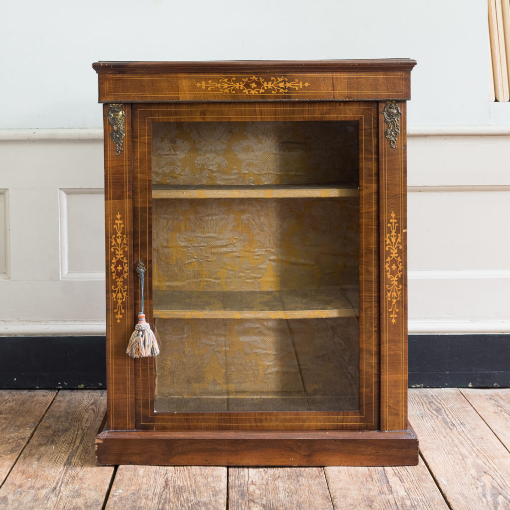 Late nineteenth century inlaid walnut pier cabinet,