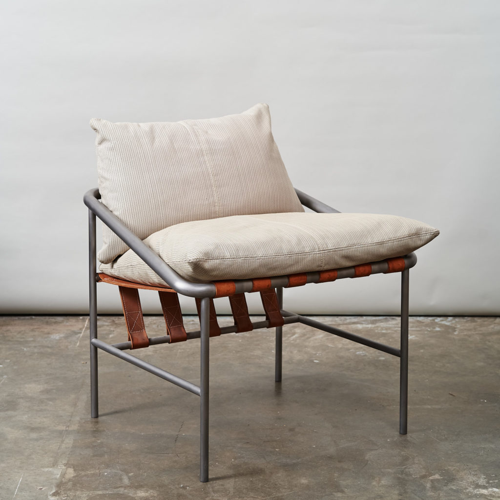 Steel framed lounge chair with leather straps,-136662