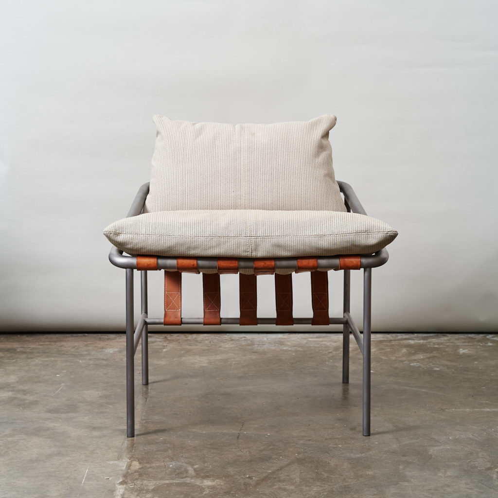 Steel framed lounge chair with leather straps,-0