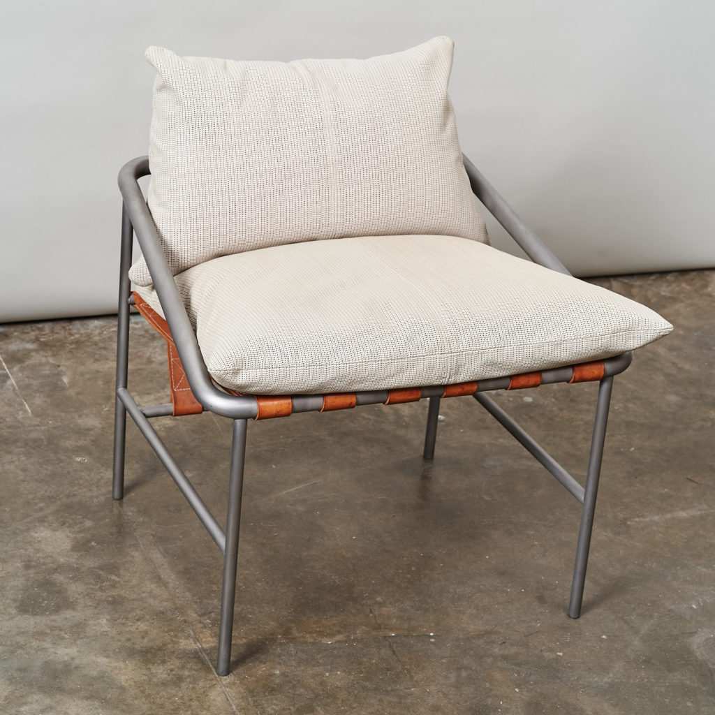 Steel framed lounge chair with leather straps,-136664