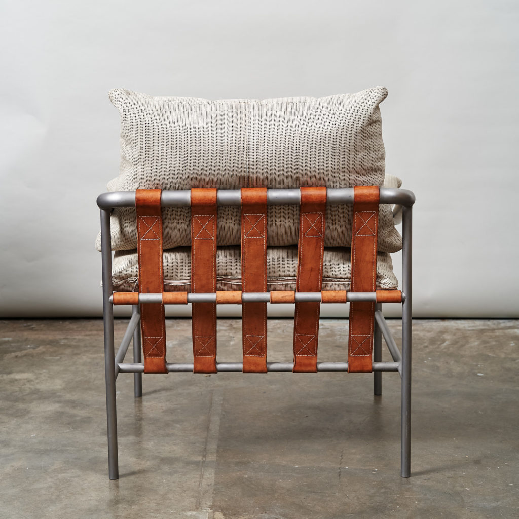 Steel framed lounge chair with leather straps,-136666