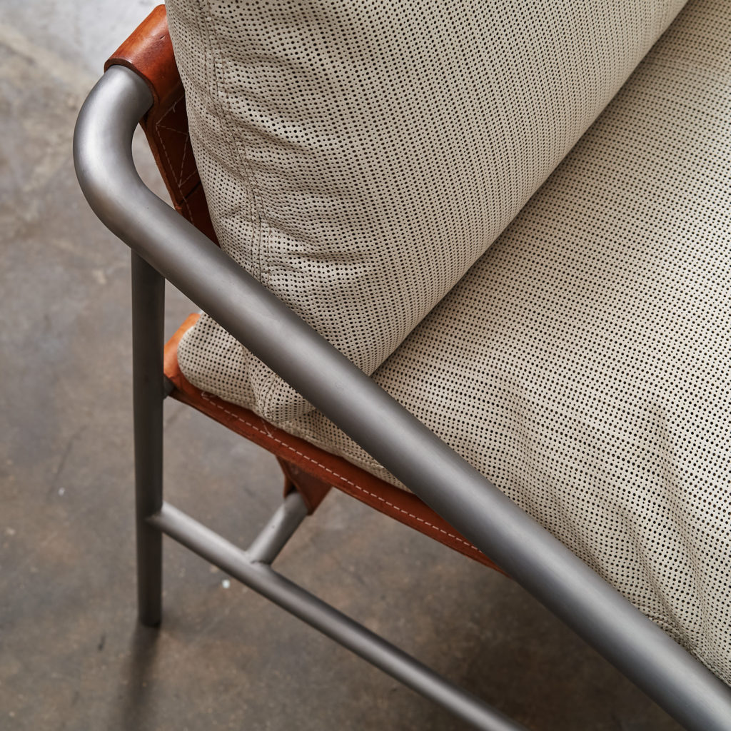 Steel framed lounge chair with leather straps,-136670