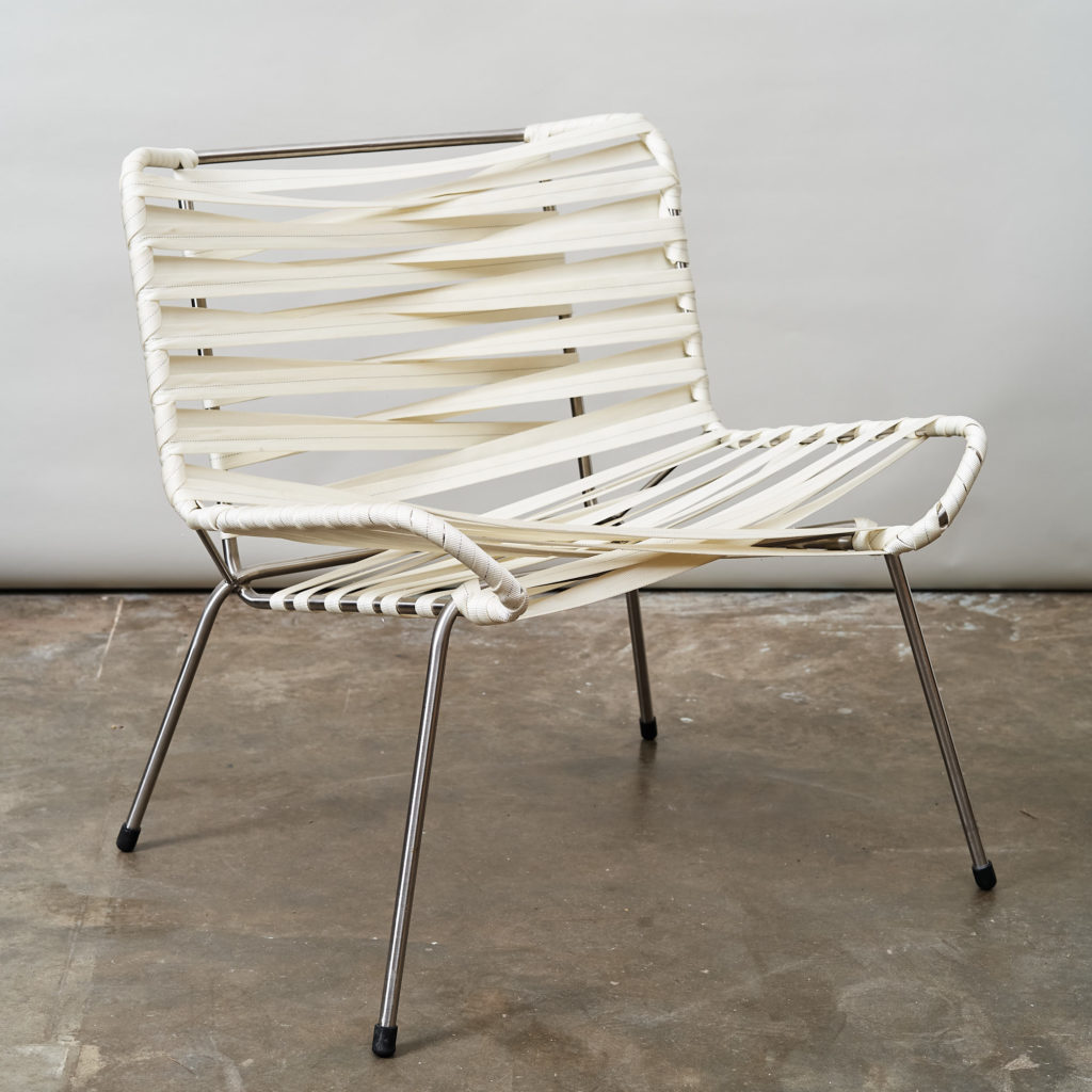 Chrome framed lounge chair with nylon straps,-136677