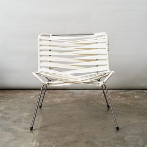 Chrome framed lounge chair with nylon straps,-0