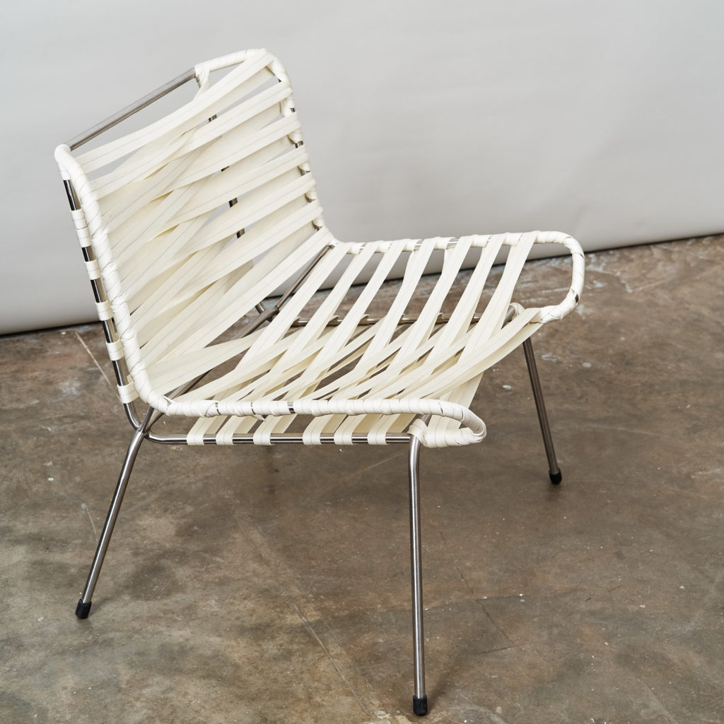 Chrome framed lounge chair with nylon straps,-136688