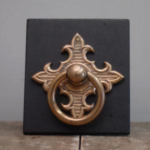 A large English rose brass door knocker-0
