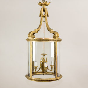 Louis XVI style gilt-bronze cylindrical hall lantern,