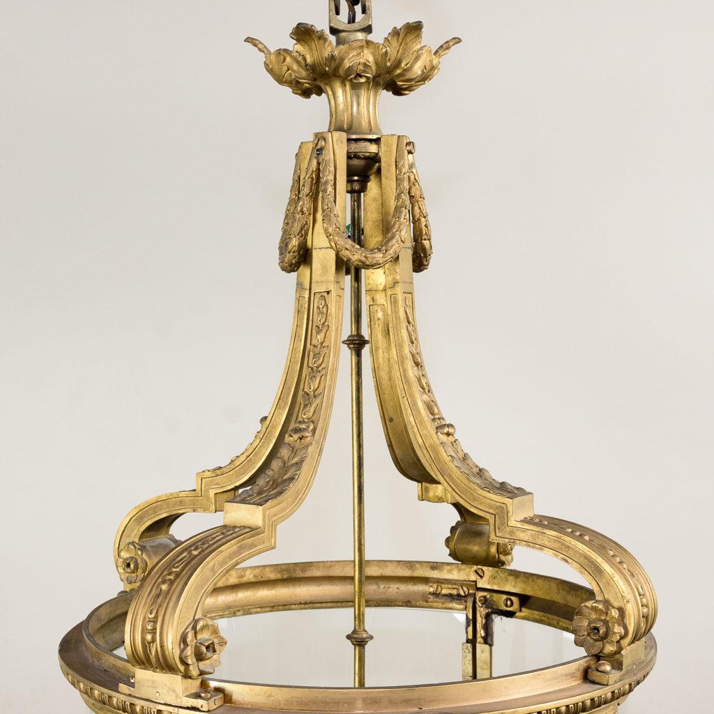 Louis XVI style gilt-bronze cylindrical hall lantern, -136909