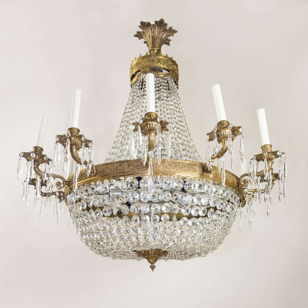 Two large Empire style tent and bag chandeliers,-136617