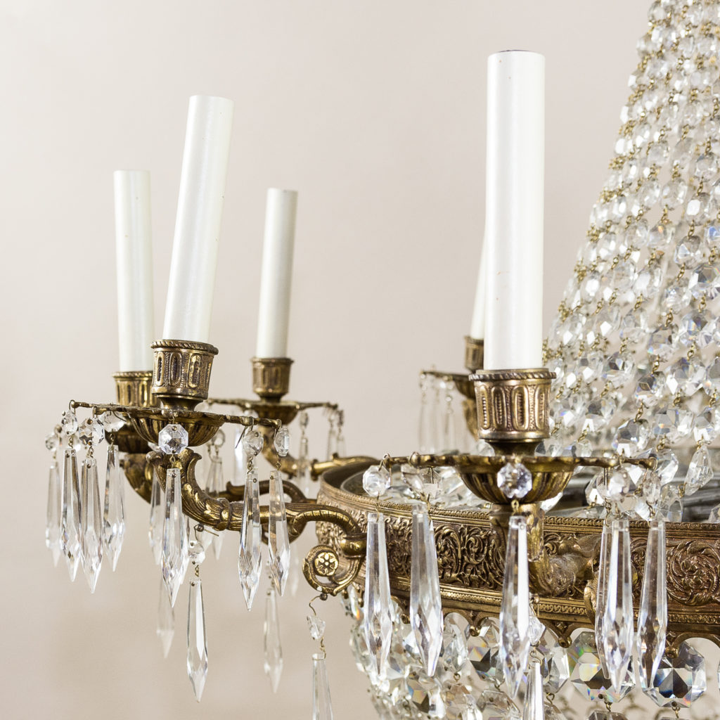Two large Empire style tent and bag chandeliers,-136608