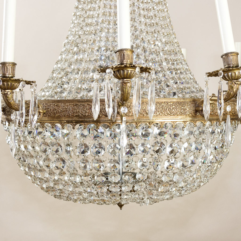 Two large Empire style tent and bag chandeliers,-136613