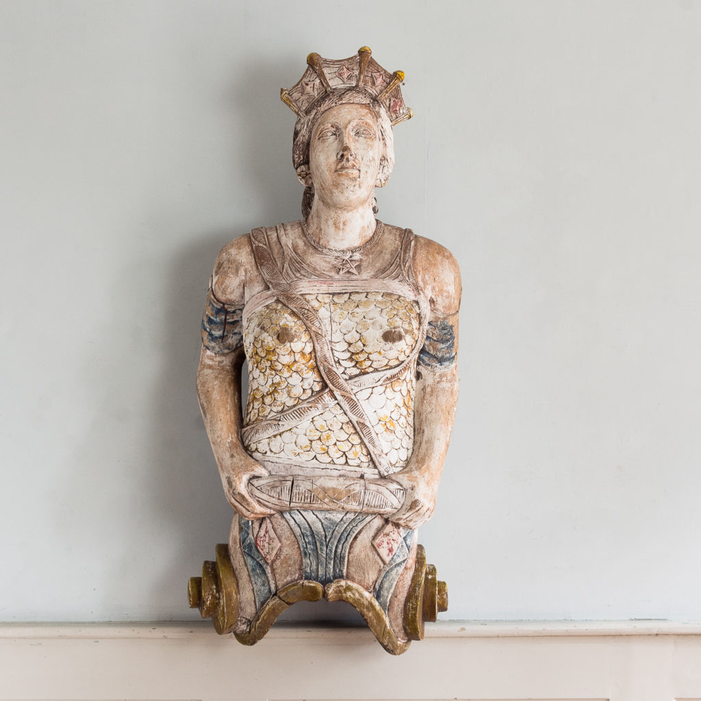 Early twentieth century English carved figurehead of Queen Boudica,