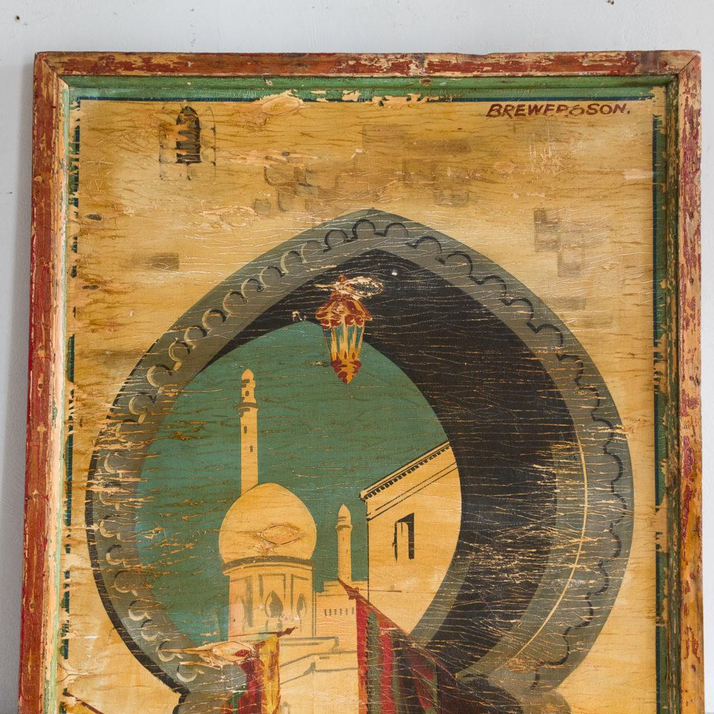 Pair of English mid-twentieth century painted fairground panels,-136982