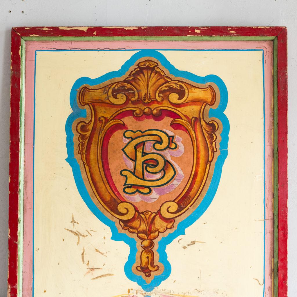 Pair of English mid-twentieth century painted fairground panels,-136985