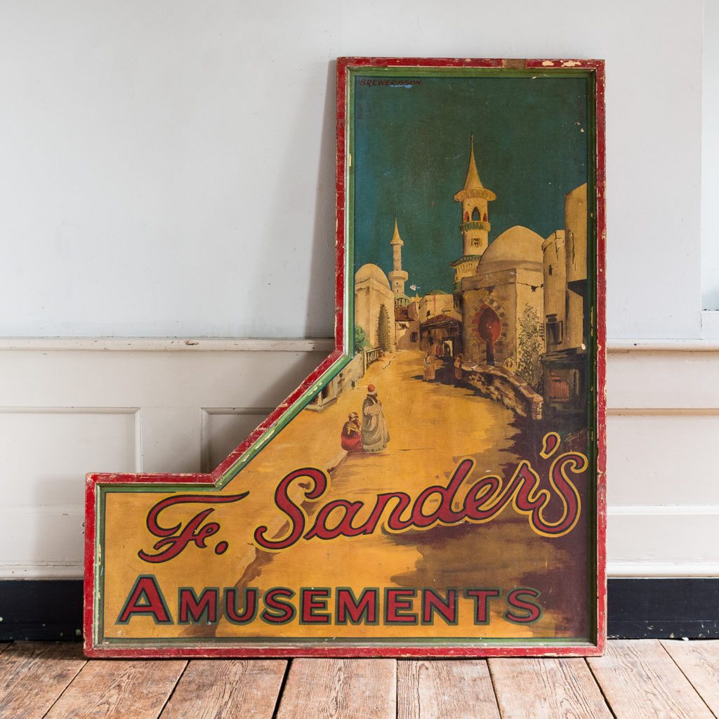 Pair of English mid-twentieth century painted fairground panels,