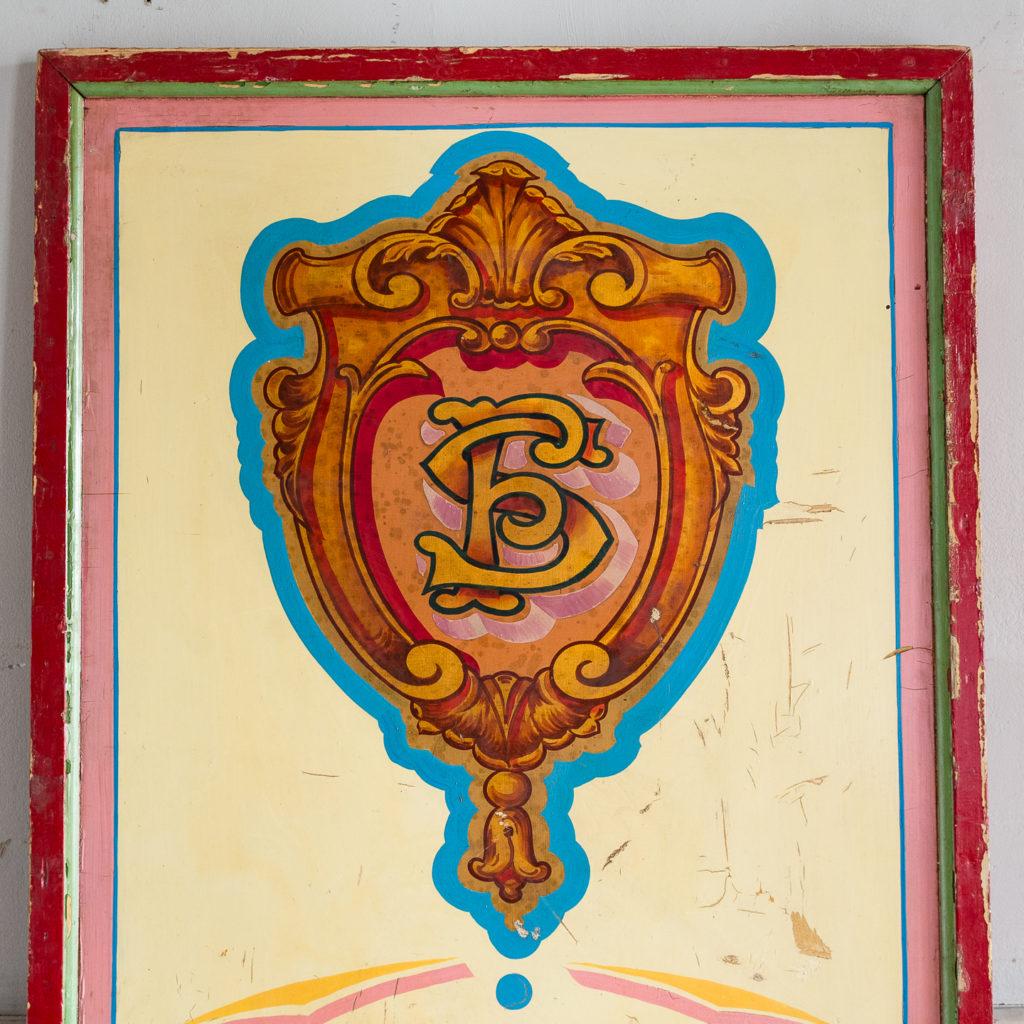 Pair of English mid-twentieth century painted fairground panels,-136995