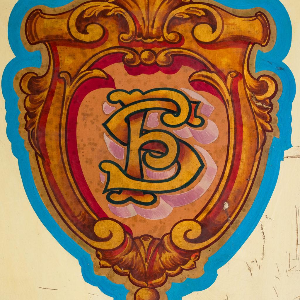 Pair of English mid-twentieth century painted fairground panels,-136994