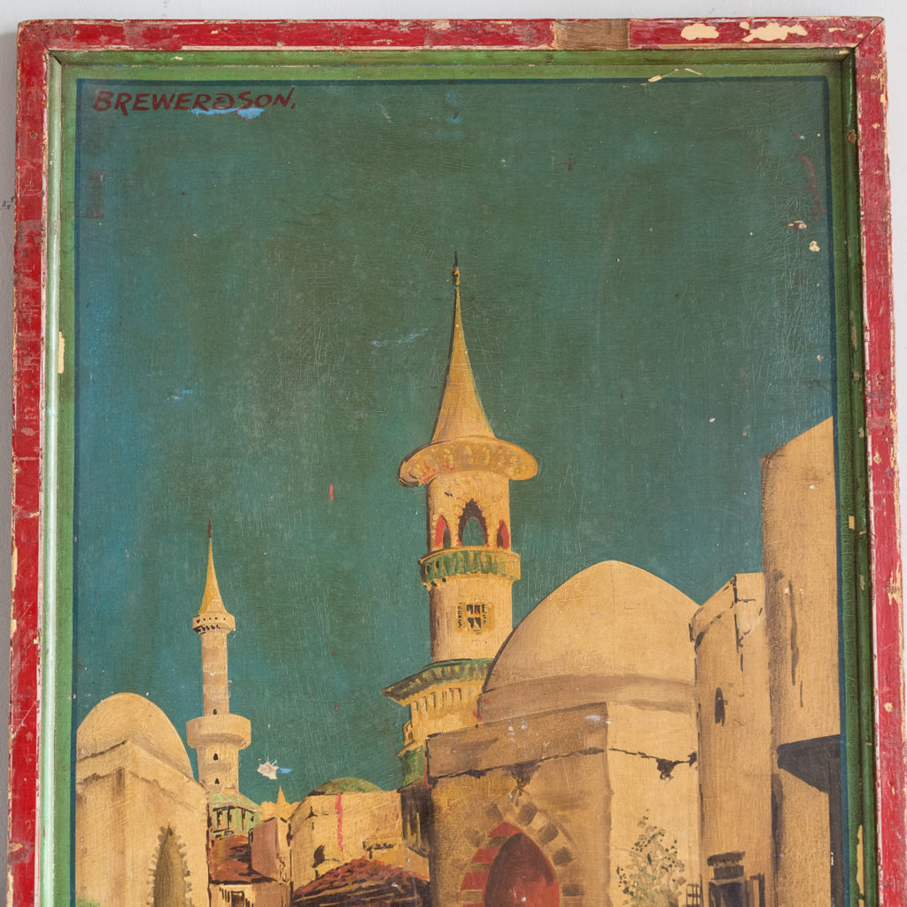 Pair of English mid-twentieth century painted fairground panels,-136997