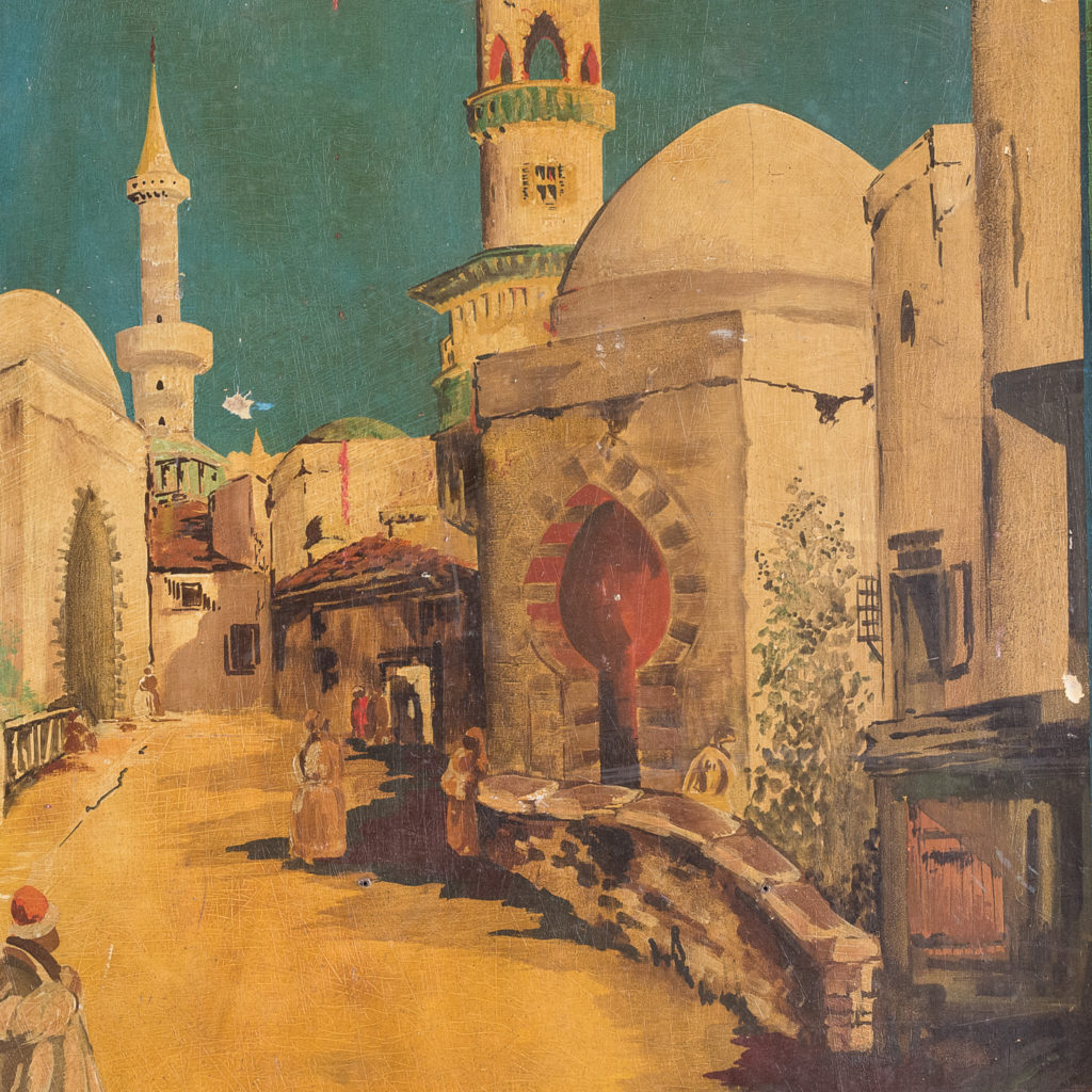 Pair of English mid-twentieth century painted fairground panels,-136996