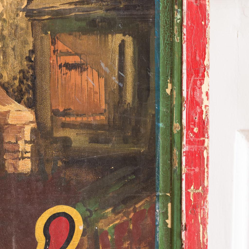 Pair of English mid-twentieth century painted fairground panels,-136999