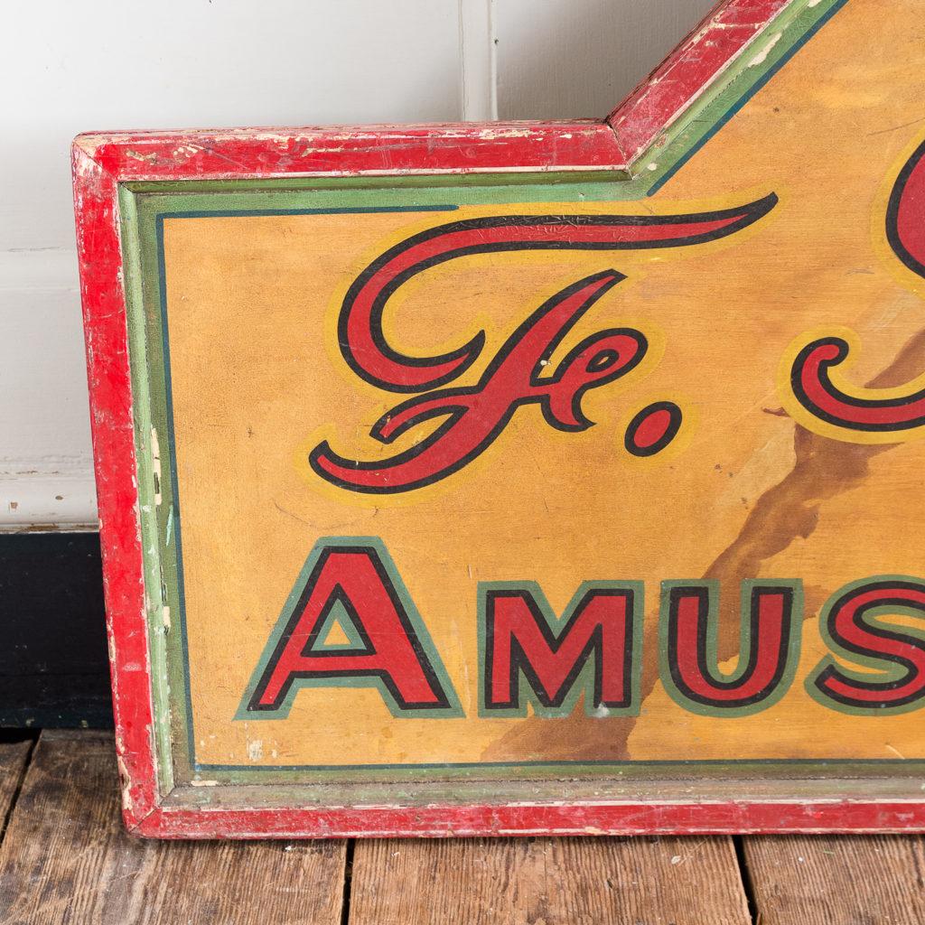Pair of English mid-twentieth century painted fairground panels,-137000